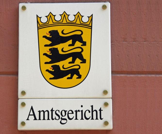 Amtsgericht Emailleschild