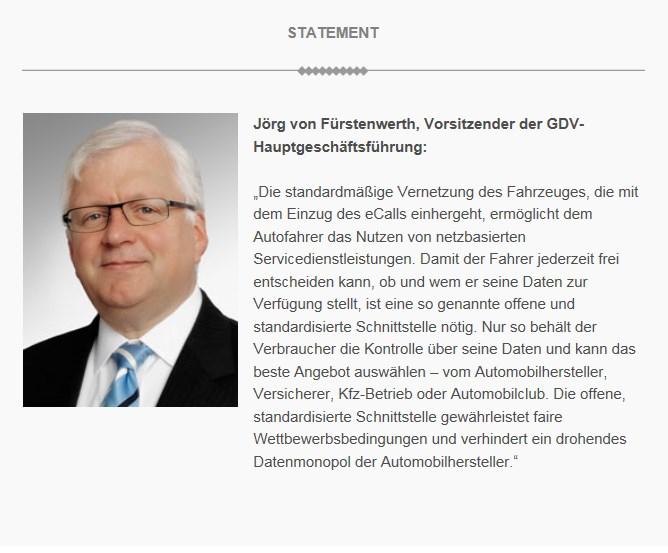 Statement: Jörg von Fürstenwerth - Vorsitzender der GDV-Hauptgeschäftsführung © GDV