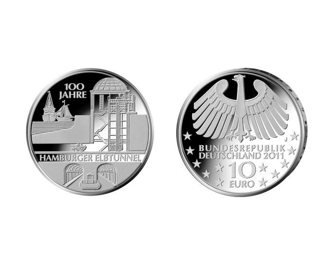 Gedenkmünze 100. Geburtstag Hamburger Elbtunnel 2011