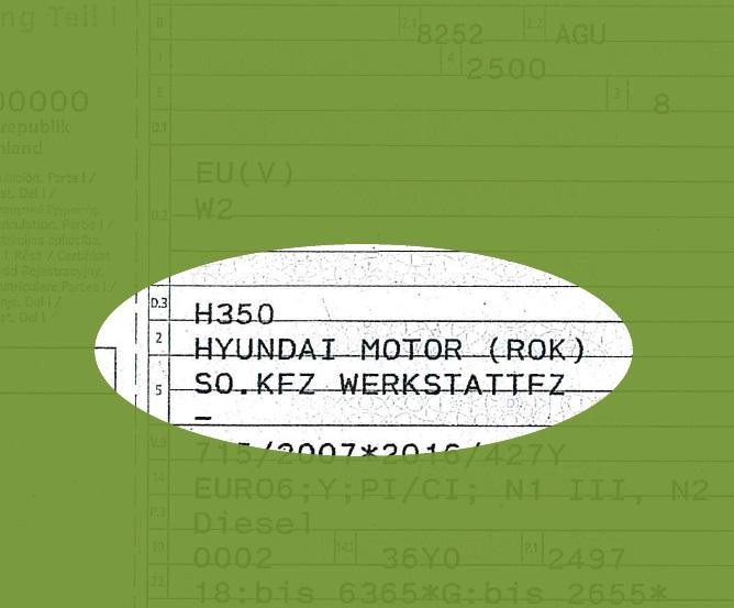 Zulassungsbescheinigung Teil 1 - So.Kfz Werkstattfahrzeug